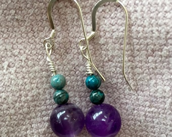 Amethyst and Jade Sterling Silver Earrings