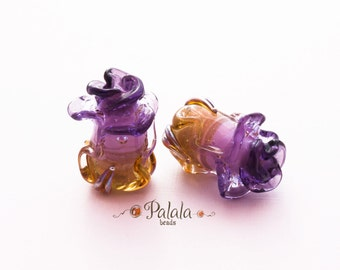 Pair of Handmade Lampwork Rose Bud Beads