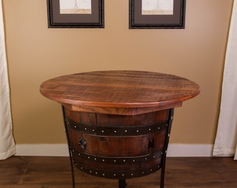 1075 Old World Wine Barrel Table with Cabinet