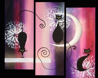 Painting painting abstract Cat 3 panels