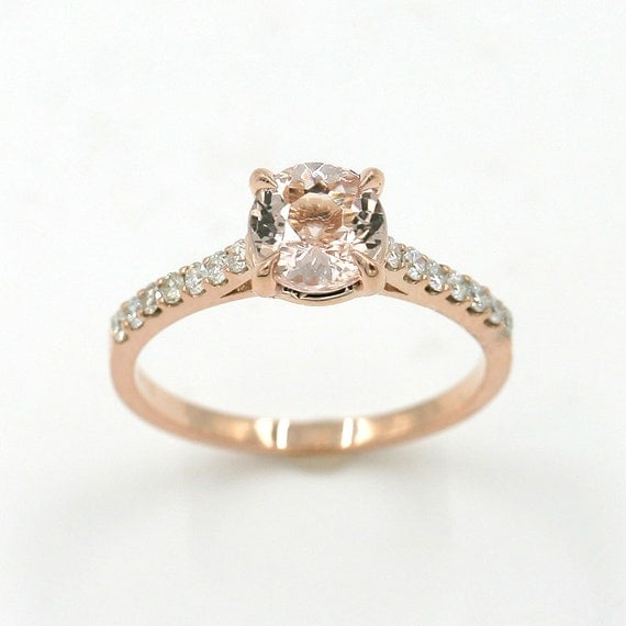 Morganite ring Engagement ring Rose Gold Wedding Ring Diamond