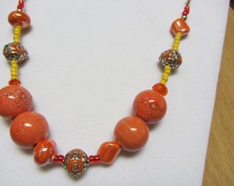 Orange beads necklace
