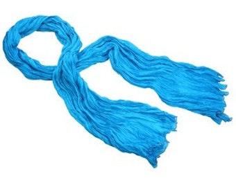 Blue Silk Scarf, Hand painted Silk Scarf