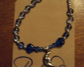Moon and Star Set with cobalt Blue Glass Beads.