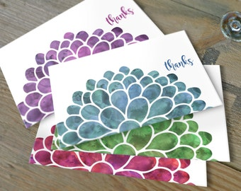 Watercolor Flower Thank You Notes, Note Card Set, Set of 10 cards with envelopes
