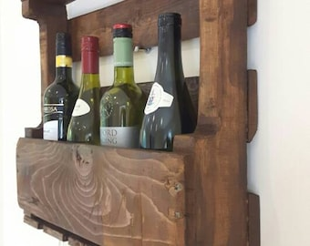 4-5 Bottle Wine Rack Made From Reclaimed Pallet Wood