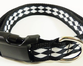 Large Black/White Argyle Dog Collar