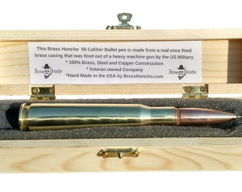 Genuine .50 caliber BMG Bullet Pen Personalized - Made From a Real .50 Cal Bullet in Engraved Wooden Gift Box - Office Pen USA MADE!