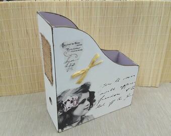 Unique Wooden file/magazines box storage handmade
