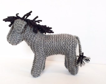 Hand Knit Donkey - Waldorf Toys - Farm Animals - Natural Toys - Baby Shower Gift - Pretend Play Toy - Dark Grey - Easter Gift