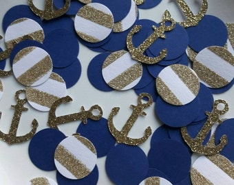 Attractive Nautical Party Decor / Navy Gold Party / Nautical Confetti / Anchor  Confetti / Anchor Party