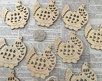 10 Wooden Chook Tags