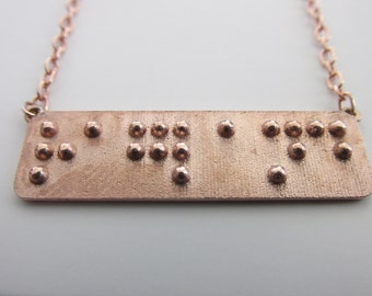 Custom Necklace, Braille Necklace, Custom Braille Necklace, Name Necklace, Name in Braille Personalized Necklace
