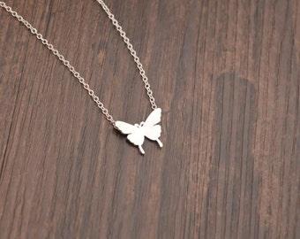 butterfly necklace silver necklace everyday necklace bridesmaid necklace Christmas necklace