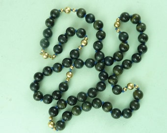 Blue Tiger's Eye Gold Bead Necklace Marked 14K Solid Clasp Vintage