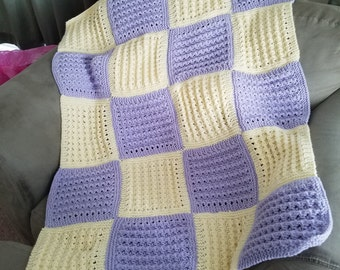 Cream and purple squared k it baby blanket