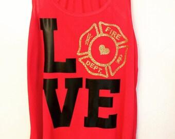 LOVE firefighter tank top