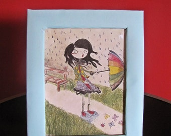 Strange Day - girl, umbrella, rain, strange, colored pencil drawing, original, handmade frame