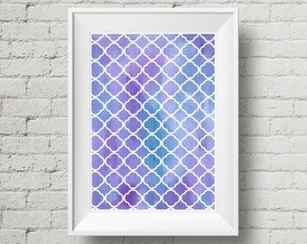 Watercolour Geometric Dreamy Blue Print A4