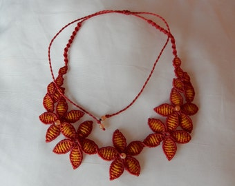 """Red flower"" necklace with carnelian"