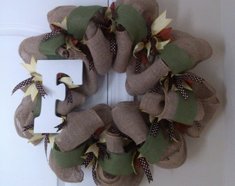 Monogram Burlap Wreath/Fall/Anytime (SOLD)