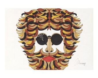 HAKON, Retro, Vintage style, 80s, 60s, beard, hairy men, glasses, stencil, Gicleé art print, Drawing, Geometric shapes, Illustration
