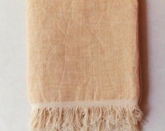 Cotton + linen handmade moroccan scarf (peach)