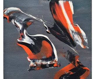 """Abstract painting """"Walliby"""" art contemporary Blackboard orange abstract modern painting"""