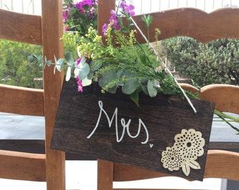 Mrs. Wooden Wedding Chair Sign
