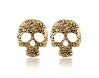 Gold Skull Stud Earrings