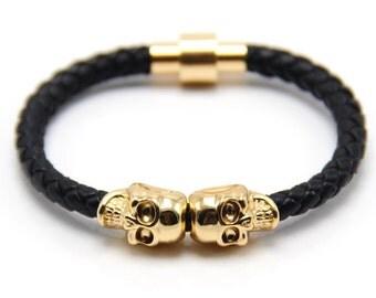 Skull Bracelet Nappa Leather