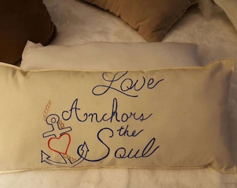 Love Anchors The Soul. Nautical themed accent pillow.