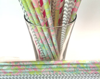 Floral Pink Splash Paper Straw Party Set - Birthdays, Weddings, Showers and Party Favors!