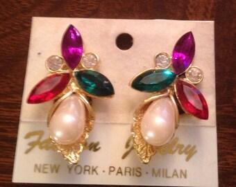 Vintage 80's Rhinestone Earrings