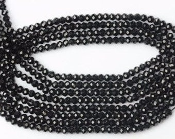 AAA+ quality gemstone 13 inch long strand BLACK SPINEL Beads 3.5 -- 4 mm