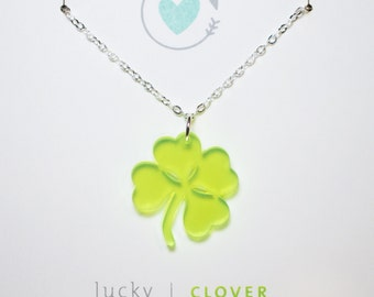 Four Leaf Clover Acrylic Charm Necklace With Silver Chain