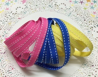 """Pink, Blue & Yellow saddle stitch grosgrain ribbon - 3/8"""" (10mm) wide x 3 yards (1 yard for each colour)"""