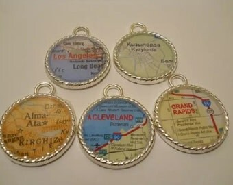 Custom Map Charm Necklace Pendant