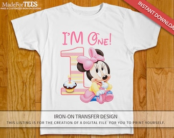 Baby Minnie First Birthday Iron On Transfer // Pink Minnie Mouse // I'm One // INSTANT DOWNLOAD