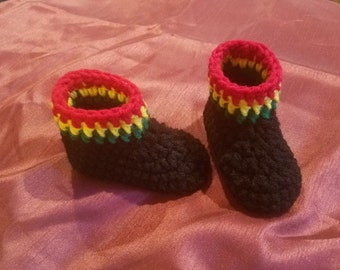 Rasta inspired baby booties crochet pattern