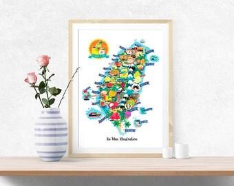 Taiwan Fruit Map Illustration Poster Wall Art
