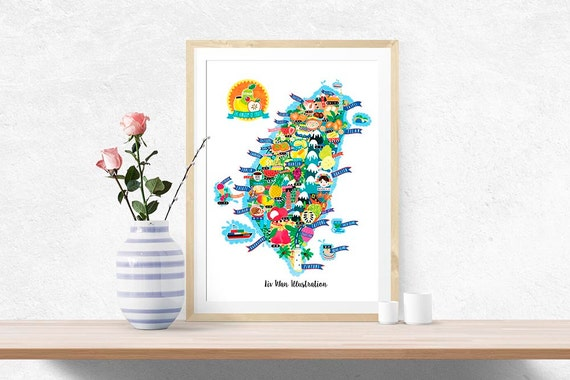 Taiwan Fruit Map Illustration (UK shipping inclusive) (15% this January/February, use code JAN17SALE15)