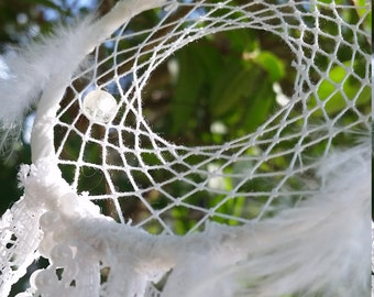 Hand Woven Dreamcatcher - 'Angel Wings' white lace, feathers and pearls