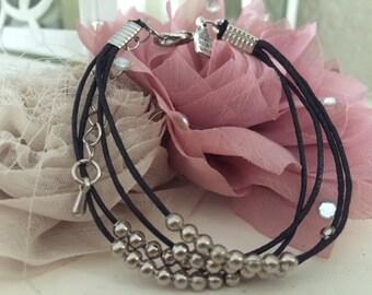 Black adjustable cord bracelet with silver beads waxed cotton cord with silver beads cord bracelet stackable bracelet gift for her