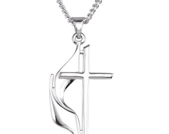Methodist Cross Necklace, Silver cross necklace, Sterling Silver cross, cross with flame, religious necklaces, Cross Pendant, gold methodist