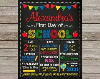 First Day of School Poster | School Chalkboard Sign | Back to School Poster | Milestone Sign | Printable