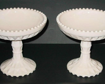 Shell Pink Milk Glass Windsor Compote Jeannette Glass (2)