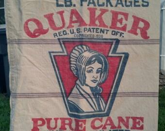 Vintage 1930's Quaker Pure Cane Sugar Sack 100LB