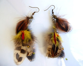 Earrings feathers pheasant - jewelry natural feather and chain - layering - elegant - colorful - country
