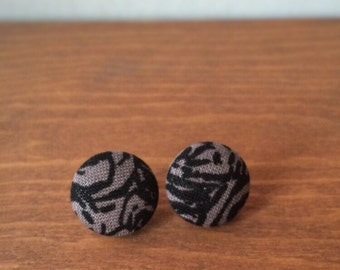 Tan and black fabric covered button earrings